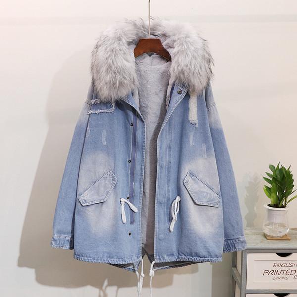 Parkas mujer 2018 kadın Astar kış uzun öğretmek denim Mont Kalınlaşmak Bayanlar Windbreaker femme giyim Kapşonlu Kürk yaka Kot