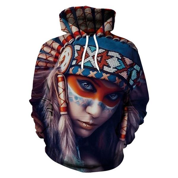 2018 Yeni Varış Tribal Kadınlar Hoodies Edebiyat ve sanat Tarzı Kazak Güzel Kız 3D Baskılı Hoodie Mont