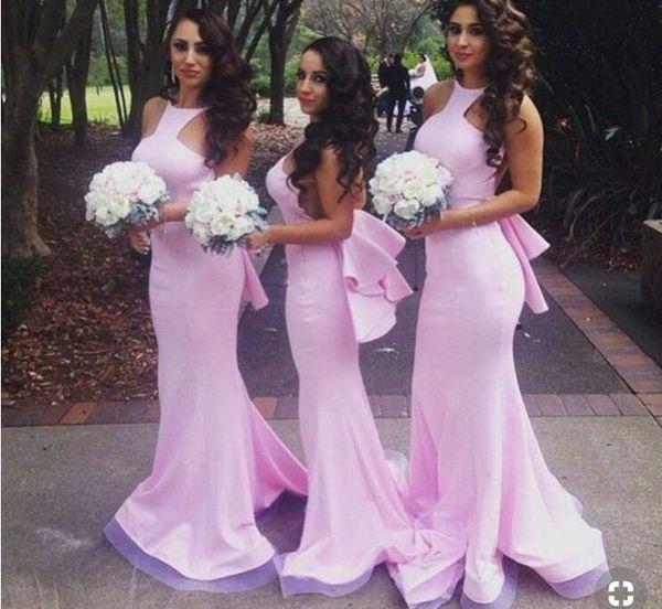 Elegant Custom Satin Mermaid Long Purple Bridesmaid Dressess Floor Length High Collar Backless Ruffled Formal Prom Evening Gowns For Women