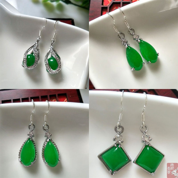 Genuine Jade Green Earrings Super Jadeite Jade Earrings New Jade Earrings Super green Jadeite free shipping