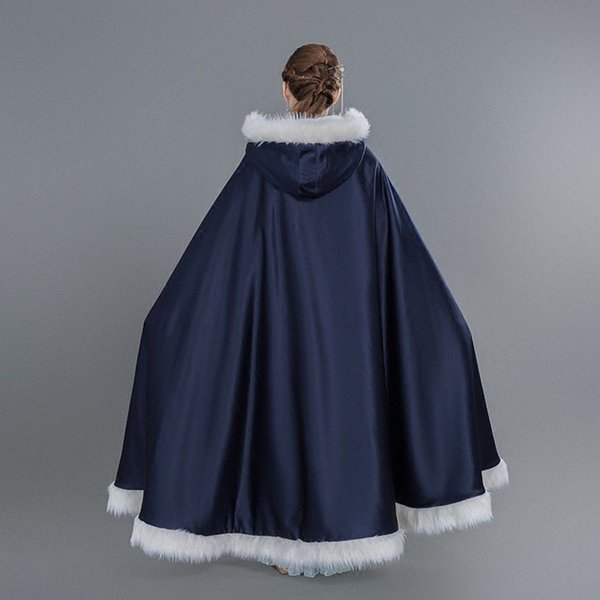 2019 New Winter White Wedding Cloak Cape Hooded with Fur Trim Long Bridal Jacket Real Picture Spring Winter Atumer