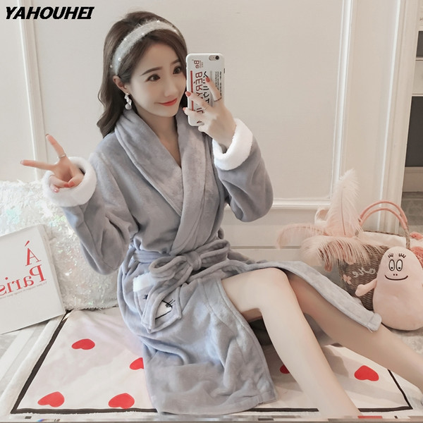 2018 Winter Long Sleeve Thick Warm Flannel Robes for Women Coral Velvet Bathrobe Female Cartoon Sleepwear Homewear Home Clothing