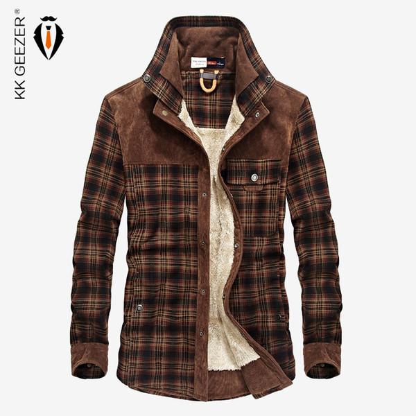 Winter Warm Plaid Casual Shirt Fleece Wear Coat Men Flannel Thick Cotton High Quality Pocket Dress Shirts Long Sleeve Fashion