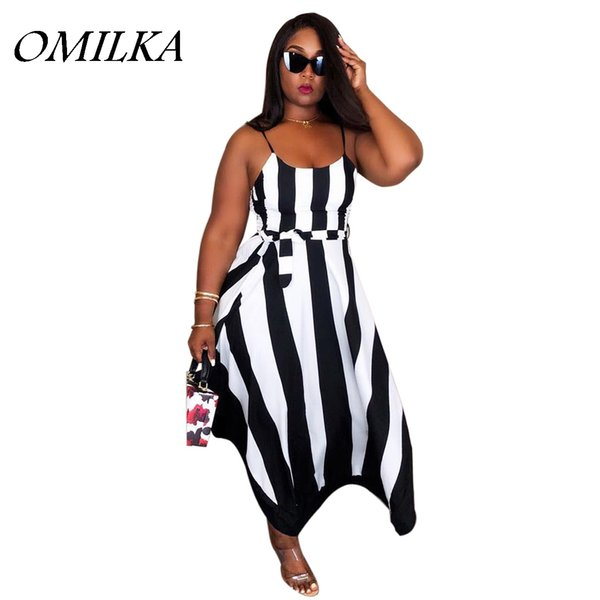 OMILKA 2018 Yaz Kadın Spagetti Kayışı O Boyun Çizgili Uzun Elbise Casual Gevşek Siyah Mavi Kırmızı Hollow Out Kulübü Parti Elbise