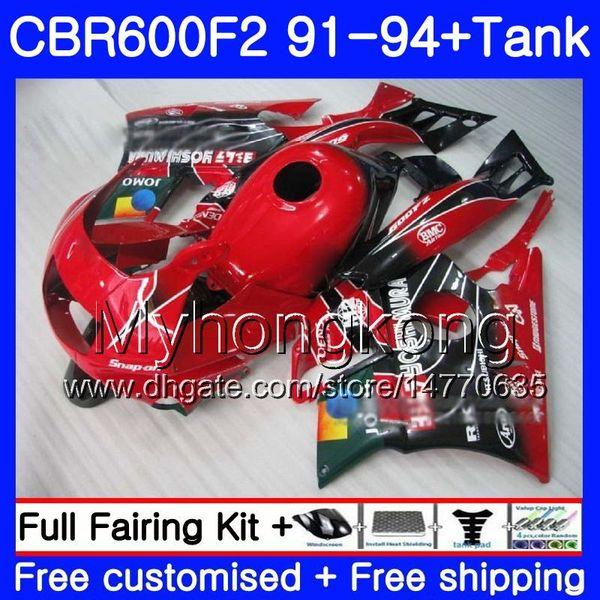 Body For HONDA CBR 600F2 FS CBR600RR CBR600 F2 91 92 93 94 1MY.19 CBR600FS CBR 600 F2 CBR600F2 1991 1992 1993 1994 Fairing kit JOMO Red
