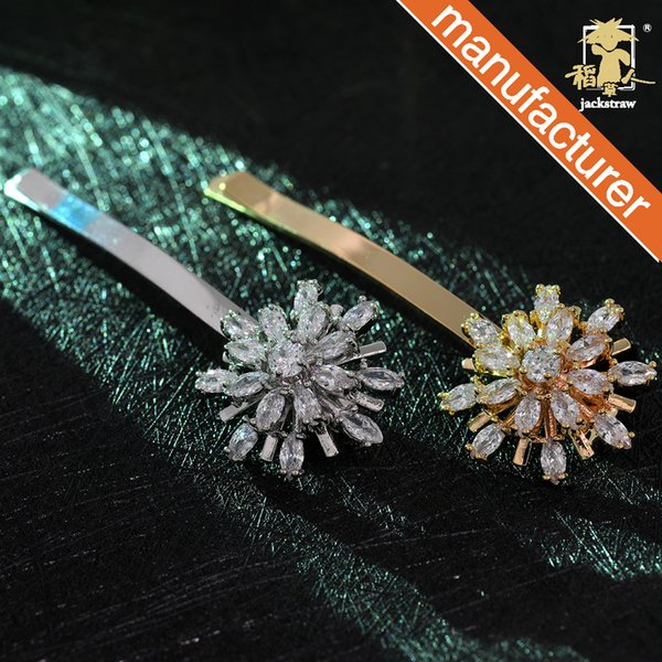 Best selling factory direct flower hairpin zircon copper micro-inlaid bangs clip word clip tiara hair accessories