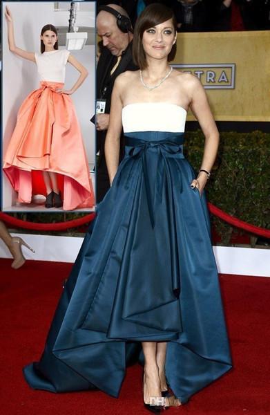Marion Cotillard Strapless Celebrity Prom Dresses Elegant Ruched Satin High Low Long Evening Gowns Red Carpet Formal Dress