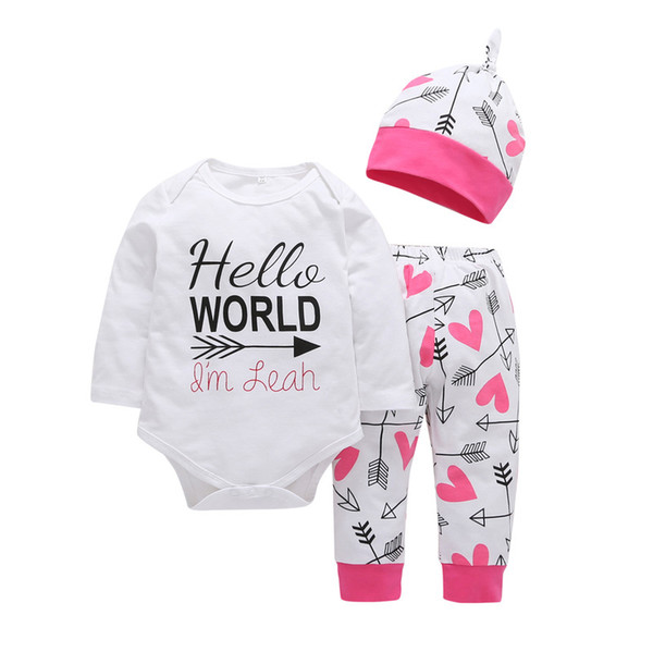 Newborn Baby Clothing Set Cotton English Words Long Sleeve Romper + Cartoon Drawing Pants Children's Boys Girls Clothing