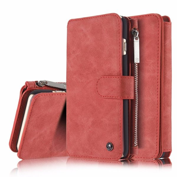 NEW Shock-absorbing genuine leather phone case 2 in 1 wallet organizer 12 card slot phone cover for iPhone X /8 Plus AJI-999