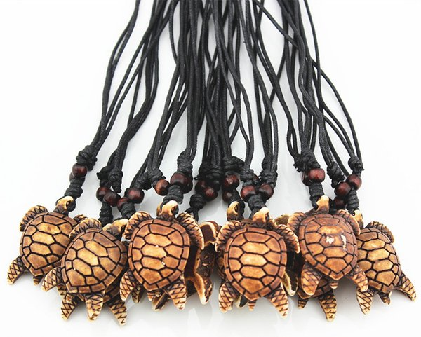 Fashion Wholesale 12PCS/LOT Imitation Bone Carving Hawaiian Surfing Sea Turtles Pendant Necklace Lucky Gift MN474
