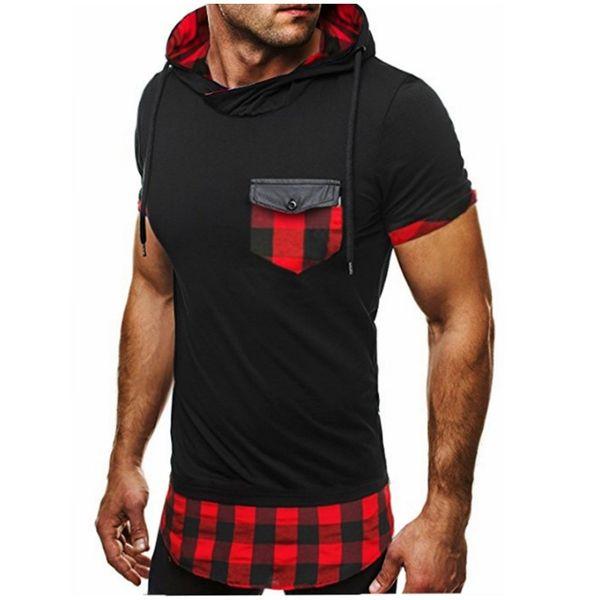 Mens T-Shirt 2018 Sommer Auflistung Patchwork mit Kapuze beiläufige Mann Slim Fit Kurzhülse T-Shirt Männer Hip Hop T-Shirt Tops XXL t585