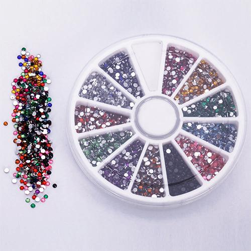 Hot 2.0mm 12 Colores Glitter Tips Rhinestones Gems Piedras preciosas Planas Nail Art Stickers Belleza DIY Decoraciones Rueda 67LZ