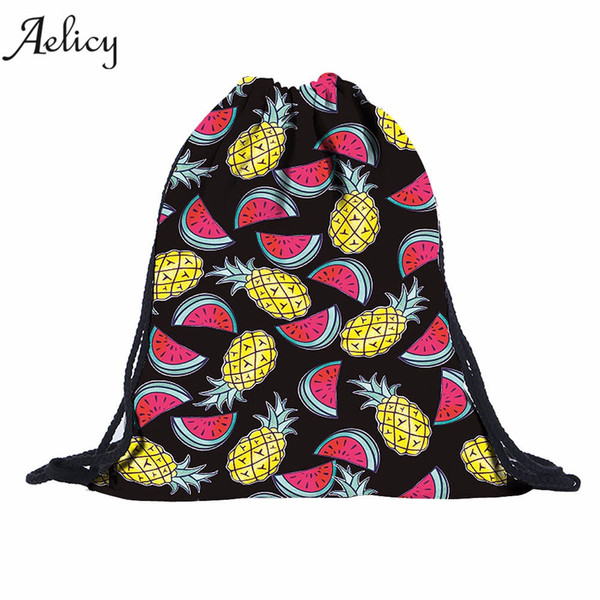 Aelicy Unisex 3D Pineapple Watermelon String Shoulder Bags Women Drawstring Backpack Rucksack Sack Bag Student School bag
