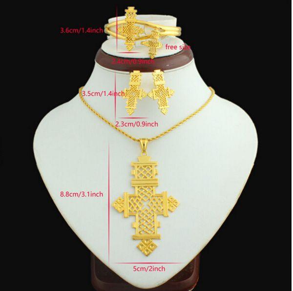 Croix éthiopienne grande taille pendentif / collier / boucle d'oreille / bracelet / bague ensemble de bijoux Eritrea Habesha Coptic 22k plaqué or femmes africaines