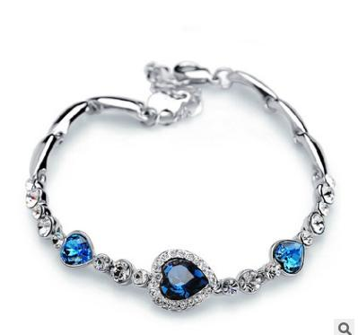 5 colors Fashion Stylish Women New Fashion Ocean Blue Sliver Plated Crystal Rhinestone Heart Charm Bracelet Bangle Christmas Gift Jewelry