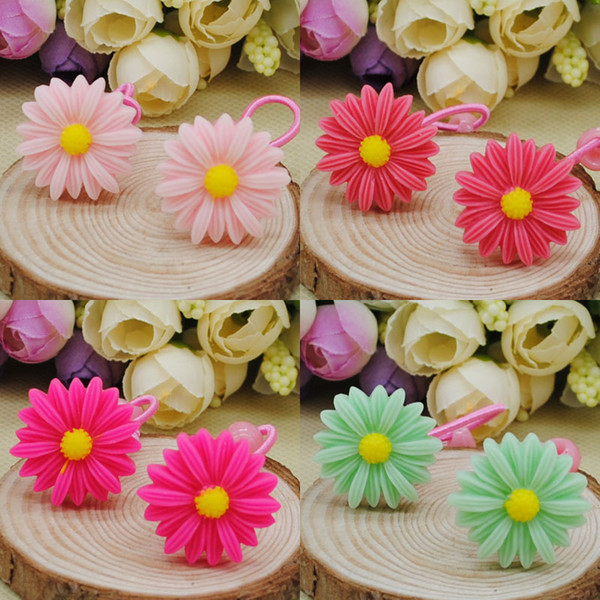 30pcs/lot Fashion Hair Accessories Headband Kids Hair Elastic Bands Polyester Headbands Daisy Flower Hair rope For Girls