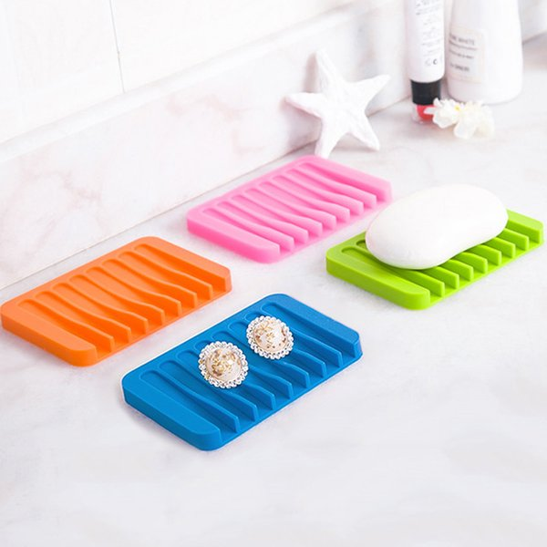 1Pc Creative Colorful Silicone Flexible Soap Dish Storage Soap Holder Plate Tray Drain Bath Tools Bathroom Accessories 30