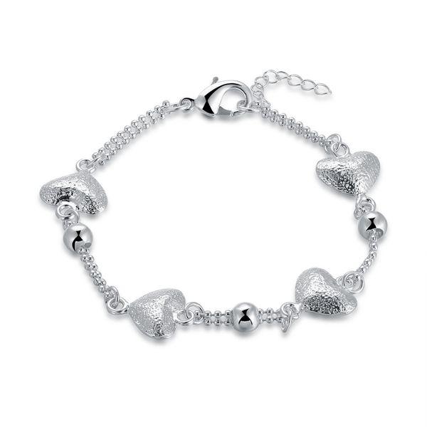 925 Sterling Silver Bracelets for women cute slim chains with love heart charms 925 jewelry silver bracelets bracelet femme 2018