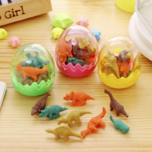 Novel Mini Dinossauro Ovo Eraser Cor Dinossauros Borrachas Estudantes Lembranças Crianças Brinquedos Fantásticos Presente Material Escolar WJ017