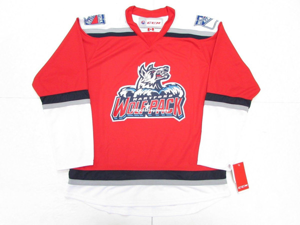 Cheap Custom HARTFORD WOLF PACK AHL RED THIRD ALTERNATE CCM PREMIER HOCKEY JERSEY Mens Stitched Personalized Any number Any name Jerseys