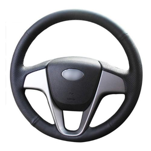 Leather Steering Wheel Hand-stitch on Wrap Cover For Hyundai Verna i20 Solaris