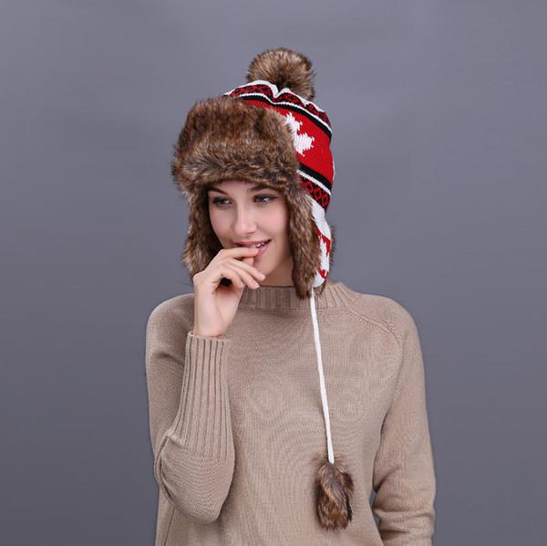 Frauen Trapper Hüte Winter Warm Bomber Hut Faux Fuchspelz Beanies Russian Uschanka Wolle stricken Pom Pom Ohrenklappen Stricken Caps