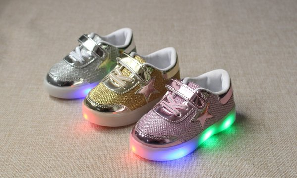 Star light leather shoes LED light shoes magic buckle anti-skid baby shoes size 21-30 free shipping