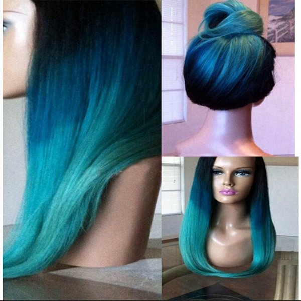 Fashion Soft Ombre Blue Green Silky Straight Long Wigs Heat Resistant Glueless Synthetic Lace Front Wigs Ombre Color for Black Women
