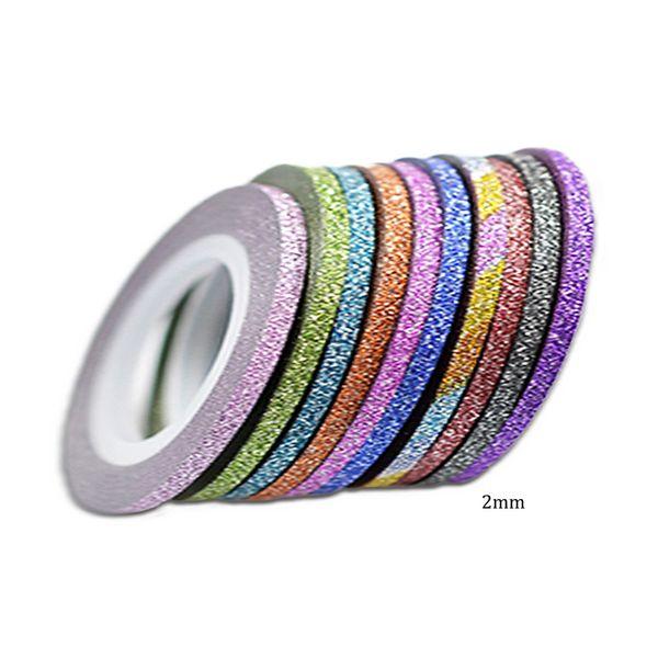 1 Pcs 10 Cores 2mm Rolls Striping Tape Line Nail Art Sticker Ferramentas Beleza Glitter Dicas Decorações para Unhas Adesivos BENC383