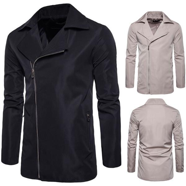 Fashion Men Long Jacket Clothing Autumn Winter Coat Zipper Up Jackets Stand Down Collar Outwear H8