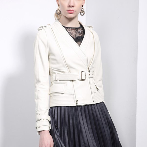 Women 2018 Streetwear Jacket Real Sheepskin White Belt Korean Fashion Moto&Biker Genuine Leather Female Coats Korean Outerwear