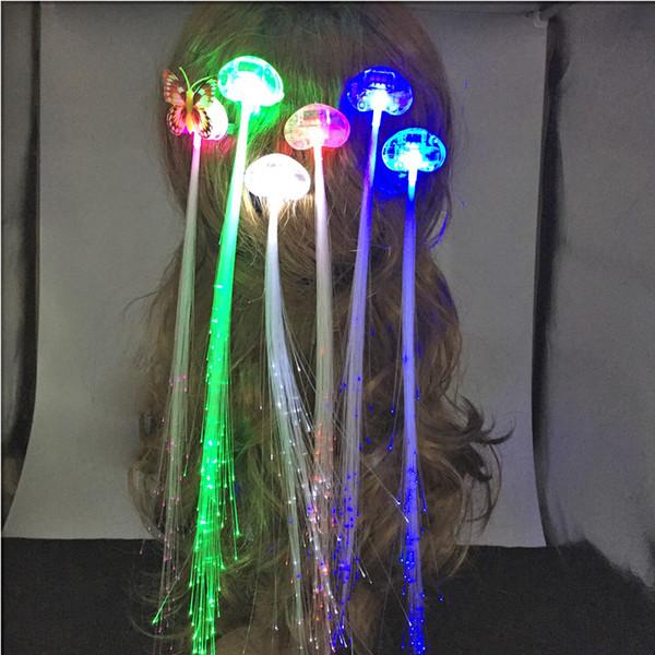 LED Flash Trança Mulheres Coloridos Luminosos Grampos de Cabelo Barrette Fibra Hairpin Light Up Partido Halloween Bar Noite Xmas Brinquedos Decor DHL livre JU191