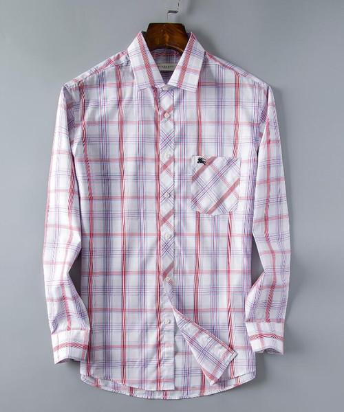 La última camisa de cuadros comprobada, camisa informal para hombres, manga para chico súper guapo, camisa de manga larga talla S-XXXL-51