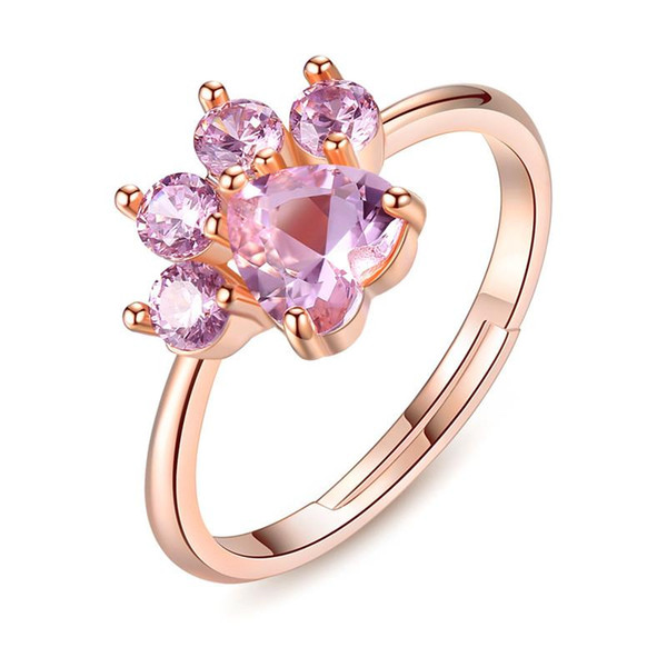 2018 Cute Bear Paw Cat Claw Opening Adjustable Ring Rose Gold Rings for Women Romantic Wedding Pink Crystal CZ Love Gifts Jewelry KKA1945