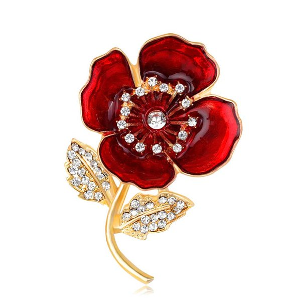 Red Blue Poppy Flower Brooch Pin With Crystal For Women Men Suit Broach Enamel Breastpin UK Legion Remembrance Day Golden Silver Color Badge