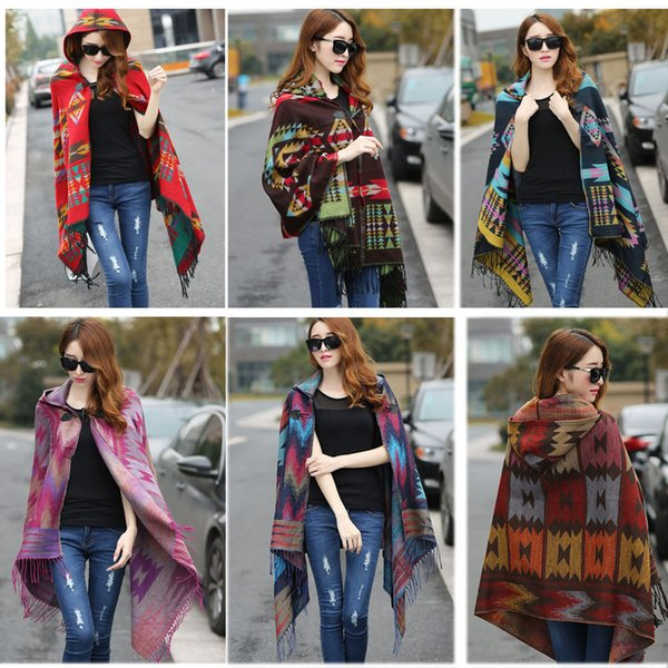 New Fashion Fringe Ethnic Geometric Women's Batwing Cape Poncho Knit Top Cardigan Sweater Coat Hip Scarf Shawl Free Shipping Y1891104
