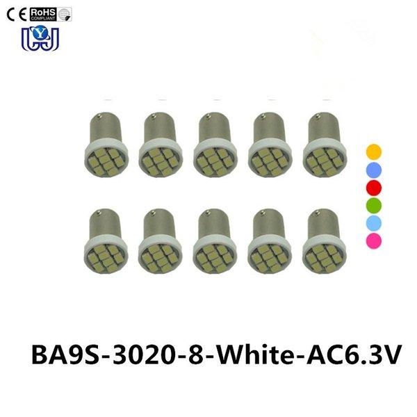 10PCS # Ba9s # 44 # 47 Bajonett Wechselstrom 6V / 6.3V 1206 3020 8SMD LED Pinball-Maschinen-Glühlampe-Lampe nicht ghisting / Antiflackern