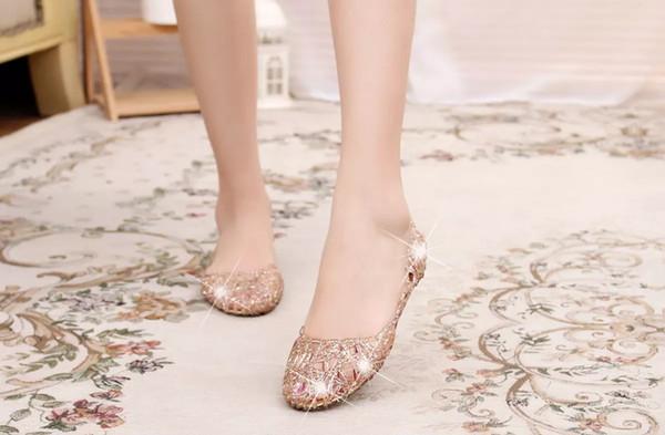 Neue Ankunft Mode Flache Kristall Gelee Bling Schuhe Melissa Frauen Ausschnitte Sandalen Flip Flops Mini Sed 4 Farbe