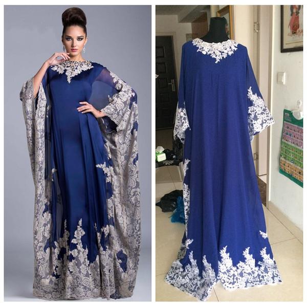 Custom Vintage Chiffon Arabic Kaftan Royal Blue Mother's Dresses Evening Prom Dresses 2018 Lace Appliques Dubai Formal Mother Of The Bride