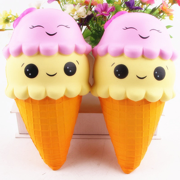 New Squishy 22CM Big Ice Cream PU Cute Toys Squeeze Squishy Slow Rising Jumbo Cell Phone Key Chain Strap Pendant Roll Toy