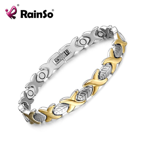 rainso magnet bracelet for woman man stainless steel gold sliver plated leaf bracelets & bangles for health fashion, Golden;silver