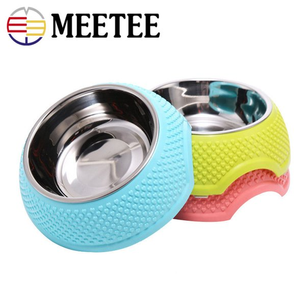 Meetee stainless steel pet bowl heart-shaped anti-skid padded dog cat rice bowl medium and small dogs Teddy dog food bowl DC-475