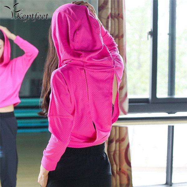 Wholesale-Women Hooded Running Shirts Jersey Breathable Sportswear Fitness Yoga Top Sports Clothing Workout Sports T Shirt Gym Jacket Tops