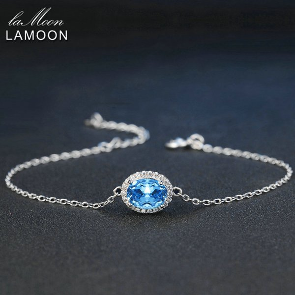 LAMOON Classic 6x8mm 100% Natural Oval Blue Topaz 925 Sterling Silver Jewelry S925 Charm Bracelet LMHI019Y1882701