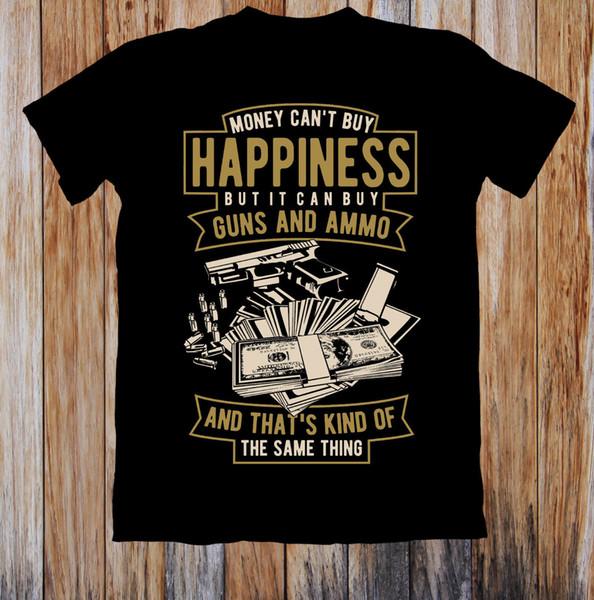 100% Baumwolle lässig Geld kann nicht GLÜCK UNISEX T-SHIRT kaufen Lustige T-Shirts Hipster O-Ausschnitt Coole Tops Hip Hop Kurzarm