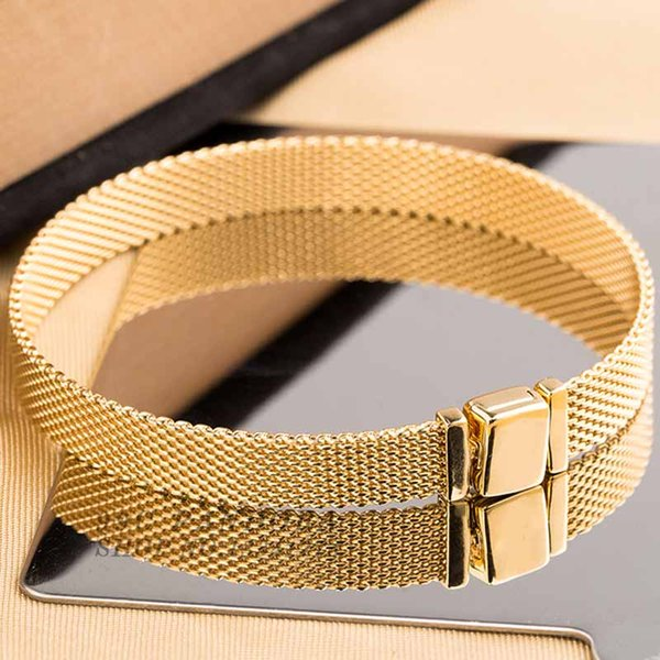 New 925 Sterling Silver Bracelet Gold Color Shine Woven Mesh Reflexions Bracelet Bangle Fit Women Bead Charm Europe Diy Jewelry