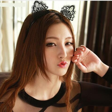 Black Lace Cat Ears Headband For Women Girls Hairband Dance Party Sexy Boutique Hair Hoop Hair Accessories 2018 Hot Sale 12PCS/