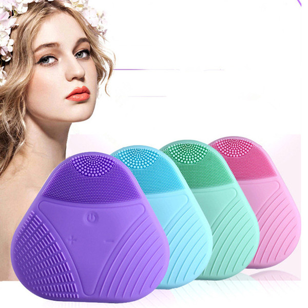 Silicone Electric Facial Cleansing Brush Mini Portable Ultrasonic Beauty Instrument Waterproof Face Cleaner Massager Blackhead Pore Cleanser
