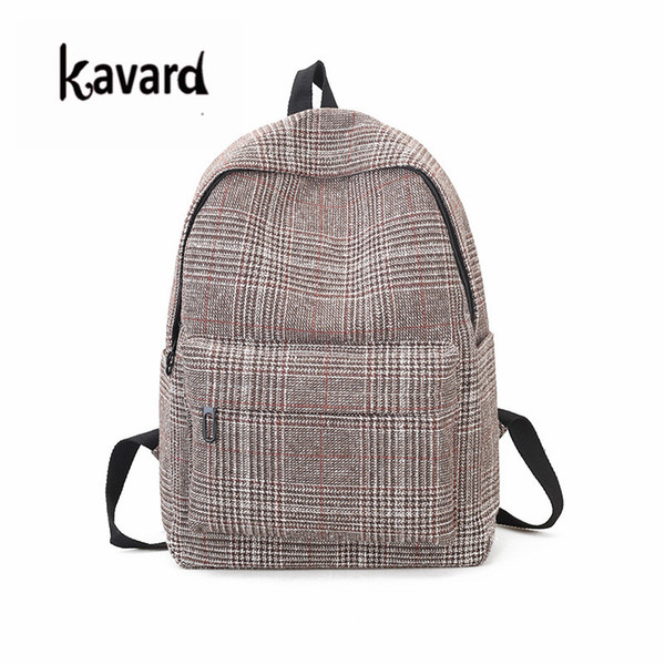 for college students Plaid Wool Women Canvas Fashion Casual Teenager Girls School Bags Big Backpacks for College Students Mochila Feminina
