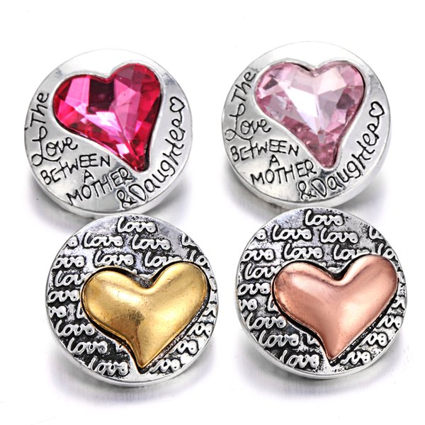 New Snap Button Bracelet Jewelry Rhinestone Metal Love Heart 18mm Snap Buttons Noosa Chunks Jewelry Making Supplier